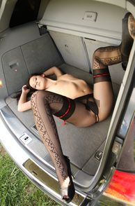 Erotic Pantyhose On Pretty Model In Car